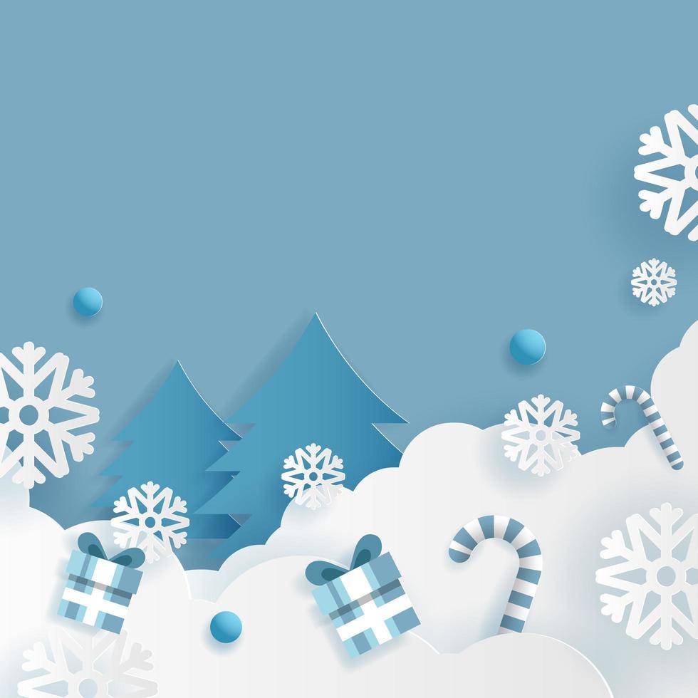 Fondo abstracto de invierno y Navidad, copos de nieve con caja de regalo vector