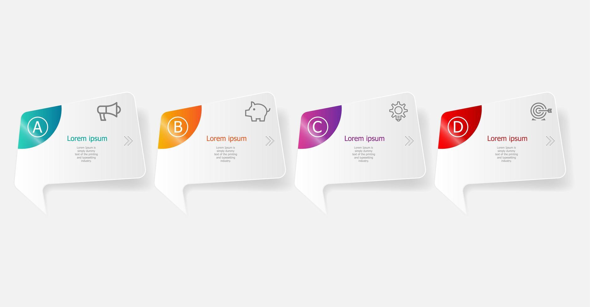 Infografía horizontal abstracta 4 pasos para negocios y presentación. vector