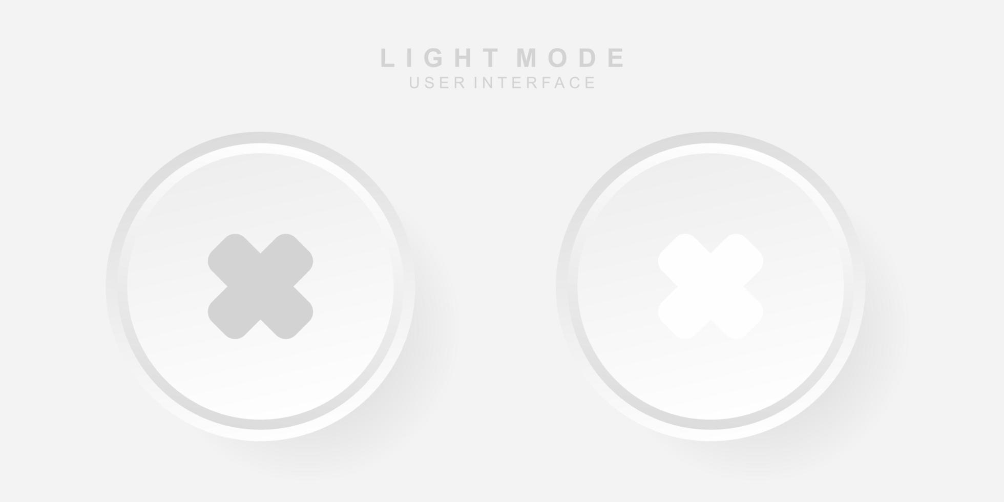 Interfaz de usuario cruzada creativa simple en el diseño de neumorfismo. sencillo moderno y minimalista. vector