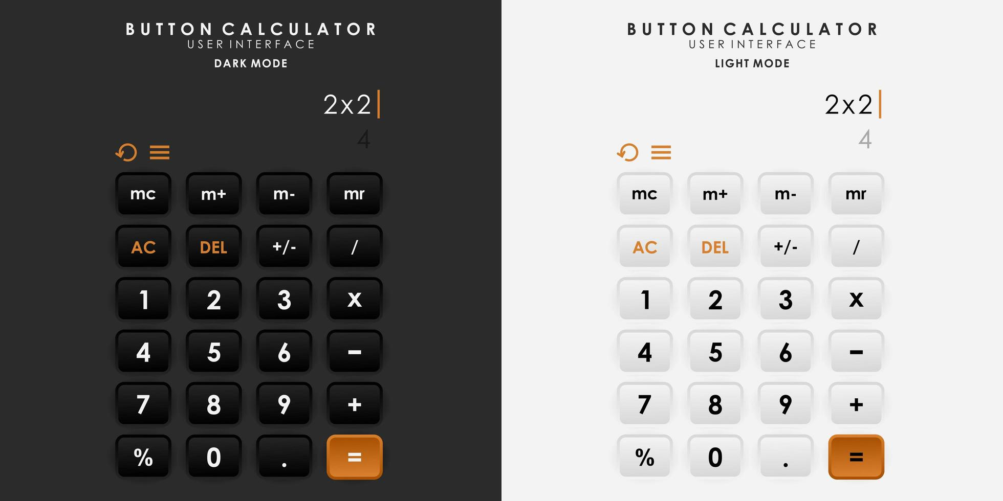 calculadora de botón de interruptor minimalista en diseño de neumorfismo. sencillo, moderno y elegante. vector