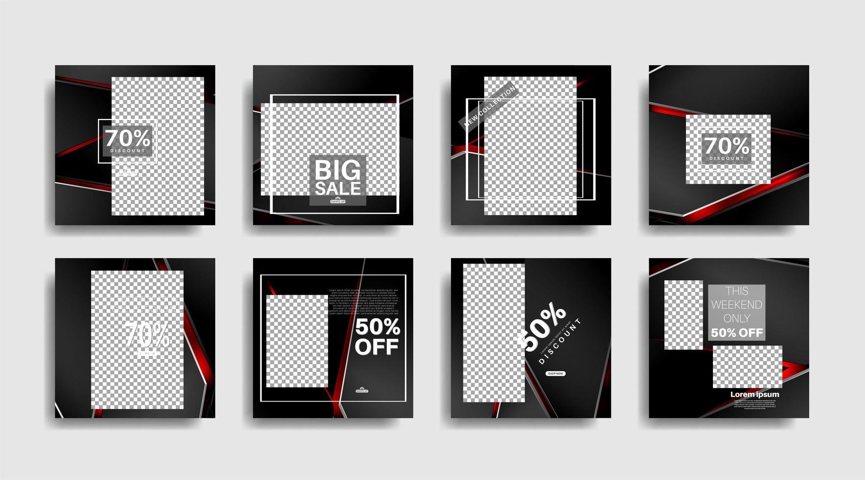 banners promocionales editados cuadrados modernos para publicaciones en redes sociales. ilustración de diseño vectorial vector