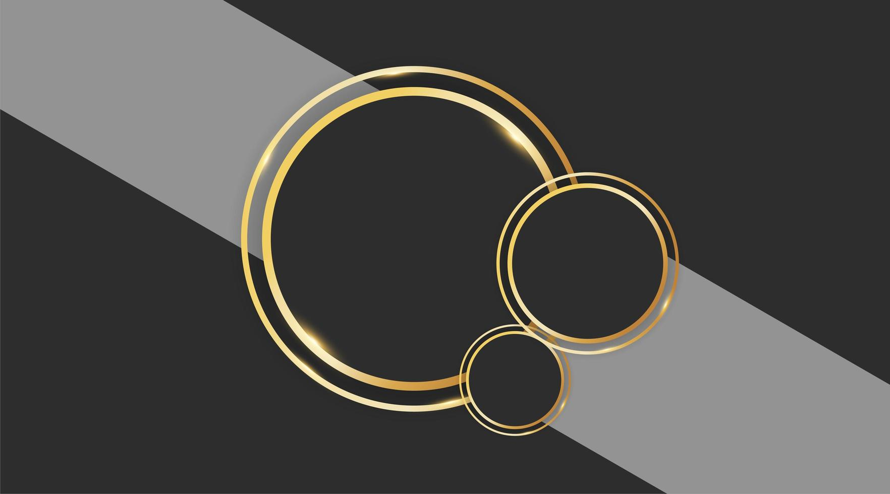Diseño de vector de círculo abstracto con anillo de oro sobre fondo gris