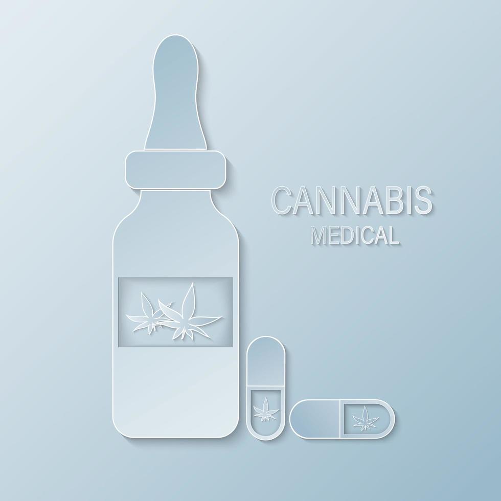 Frasco médico cortado en papel con hoja de cannabis. vector