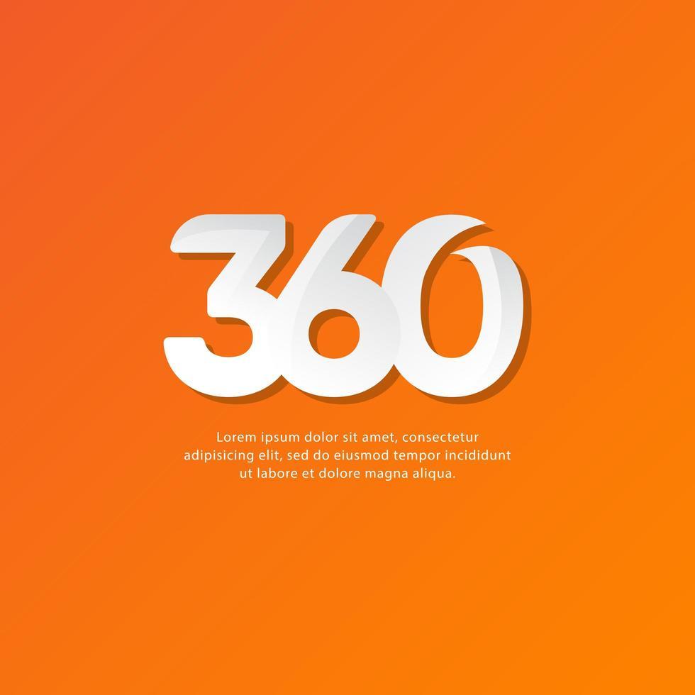 Ilustración de diseño de plantilla de vector de texto de 360 números