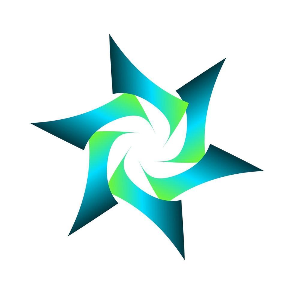 símbolo de estrella geométrica sombreada en color azul verde vector