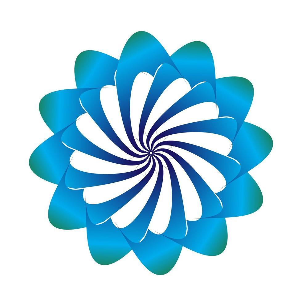 diseño de vector de símbolo floral en colores azules