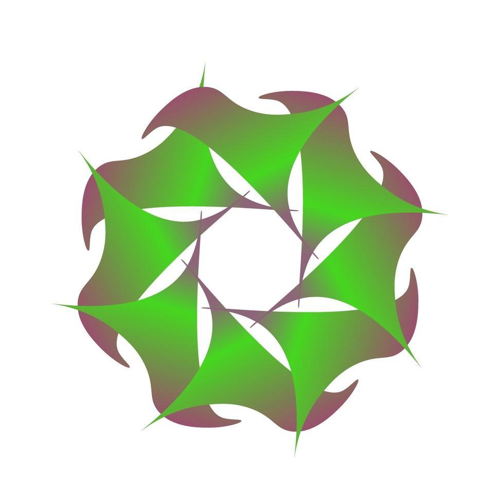 Símbolo de círculo abstracto en forma de flor envuelta en verde vector