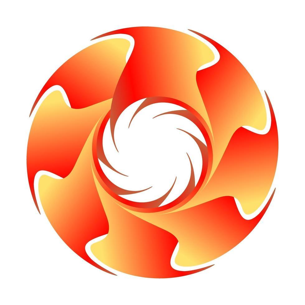 Logotipo de círculo fractal abstracto en color naranja como el sol vector
