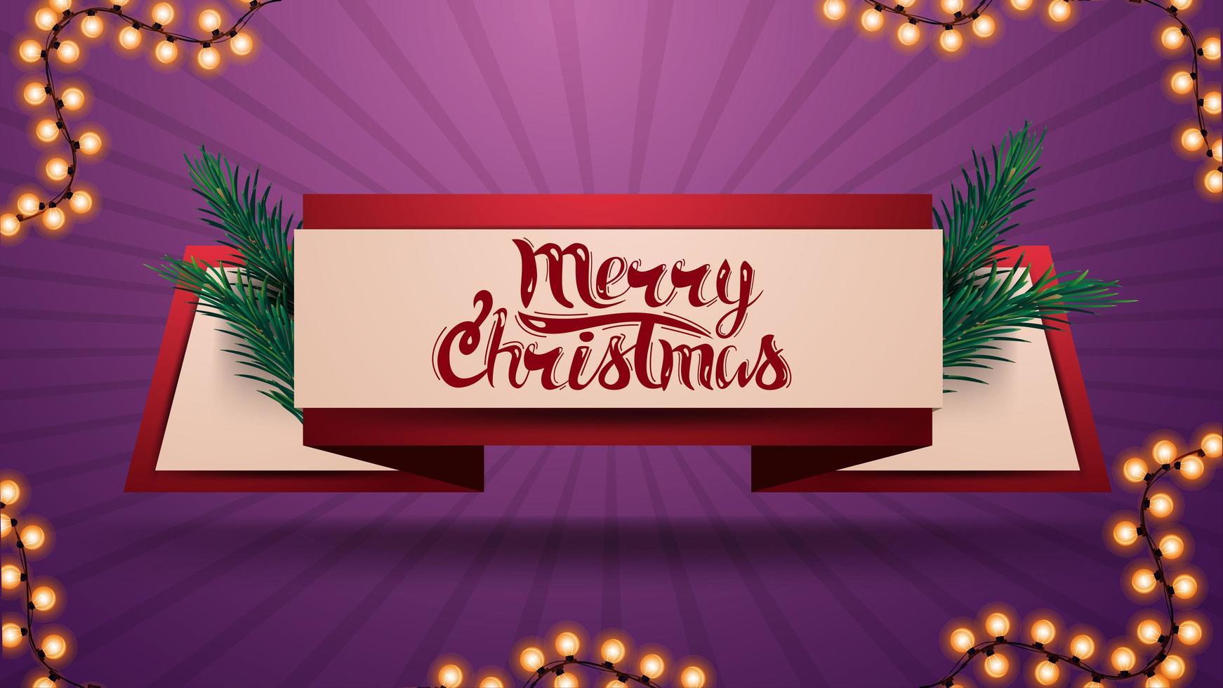 feliz navidad, cinta de saludo con ramas de árboles de navidad vector