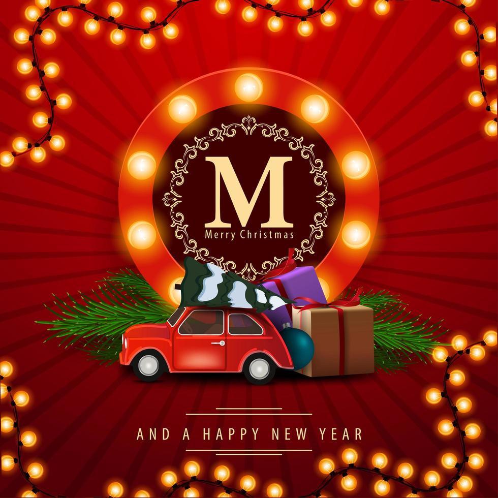 feliz navidad y próspero año nuevo, postal del cuadrado rojo con un coche antiguo que lleva el árbol de navidad. tarjeta de felicitación con logo redondo con bombillas vector