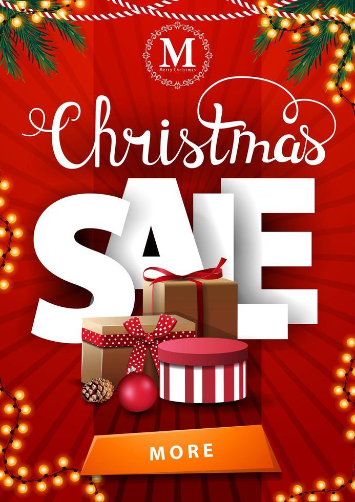 Venta de Navidad, banner de descuento vertical rojo con grandes letras blancas y muchos regalos de Navidad vector