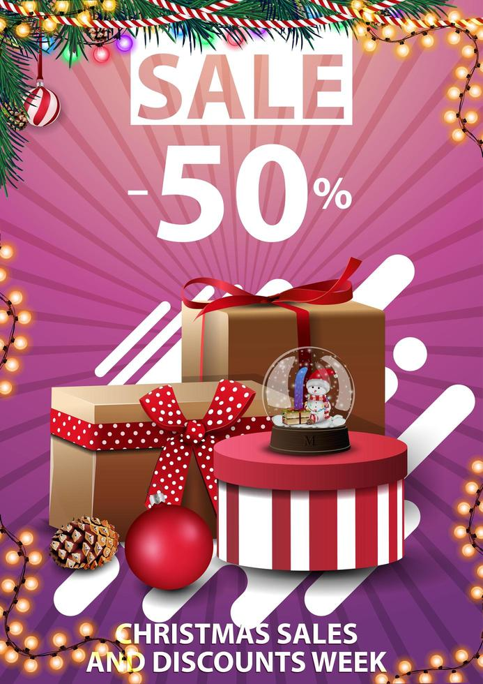 Christmas sales and discount week, up to 50 off, pink vertical discount template for your business with Christmas presents vector