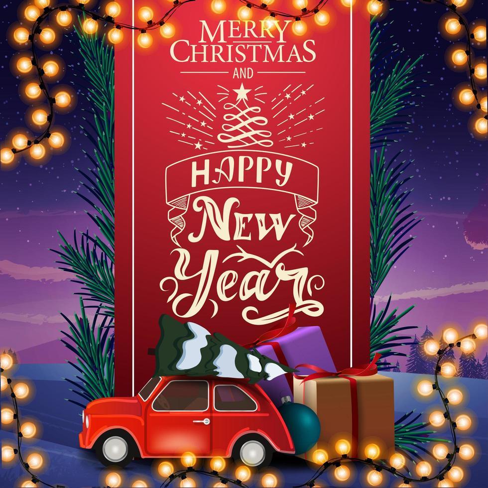 feliz navidad y próspero año nuevo, tarjeta de felicitación con hermosas letras, cinta vertical roja decorada con ramas de árboles de navidad y autos antiguos con árbol de navidad vector