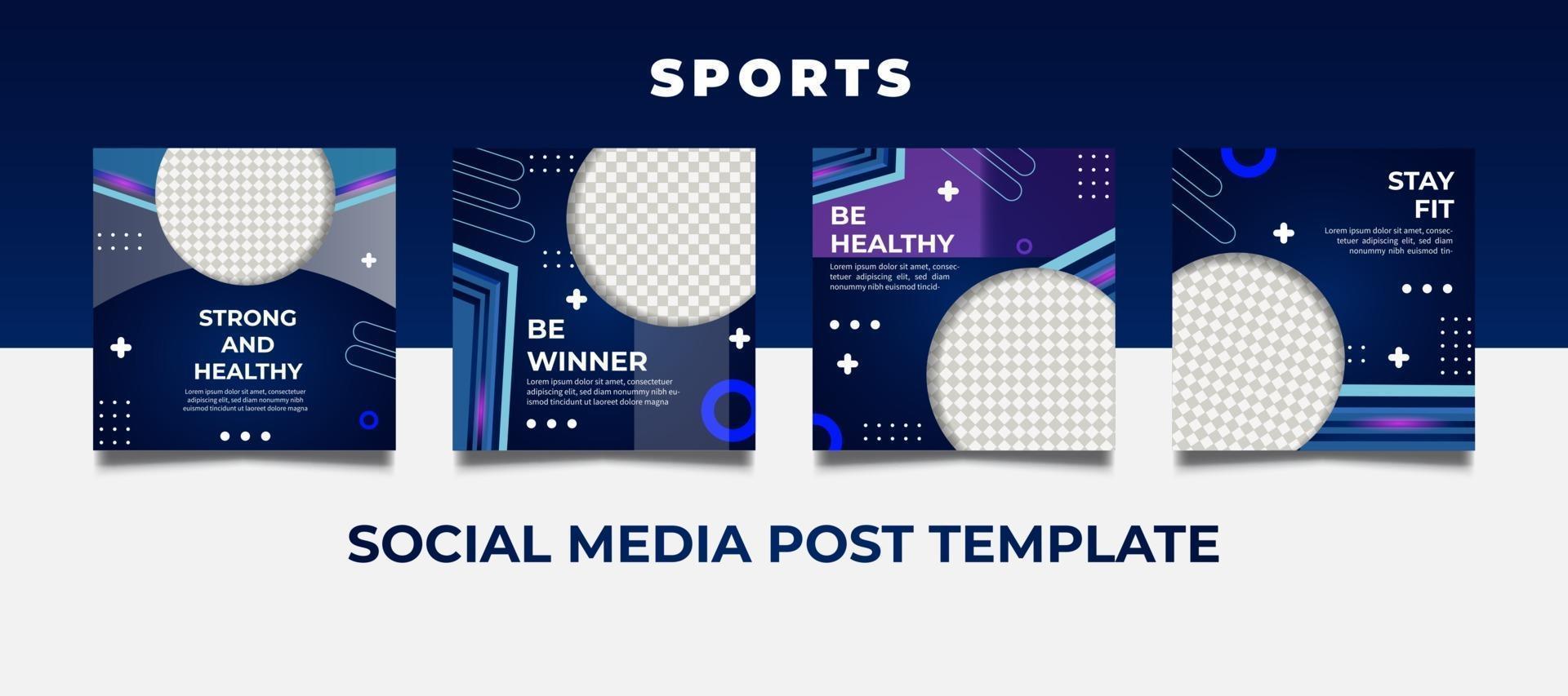 Plantillas deportivas futuristas para publicaciones en redes sociales. vector