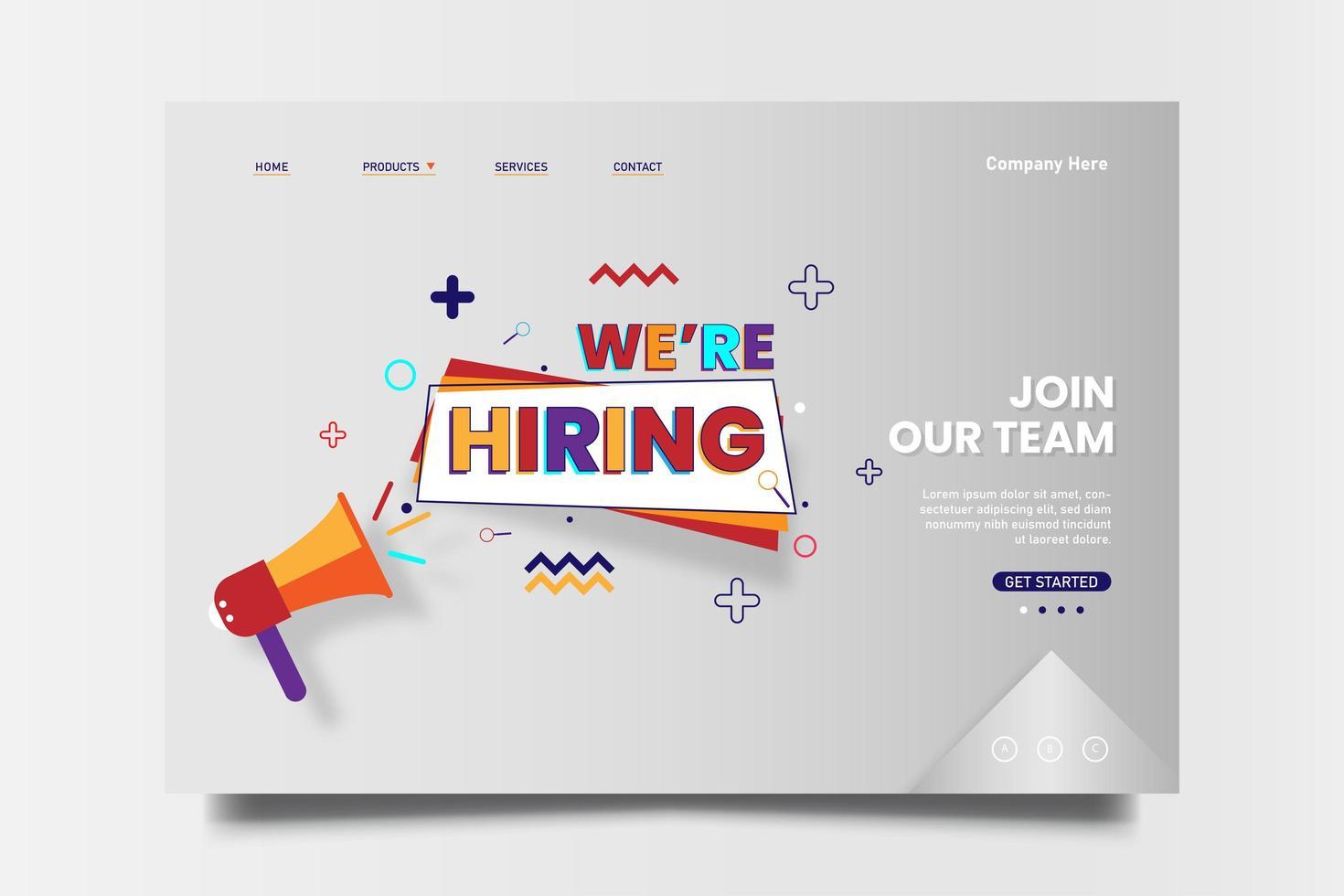 estamos contratando mecanografiado para la página de inicio web con campaña de icono de megáfono. vector