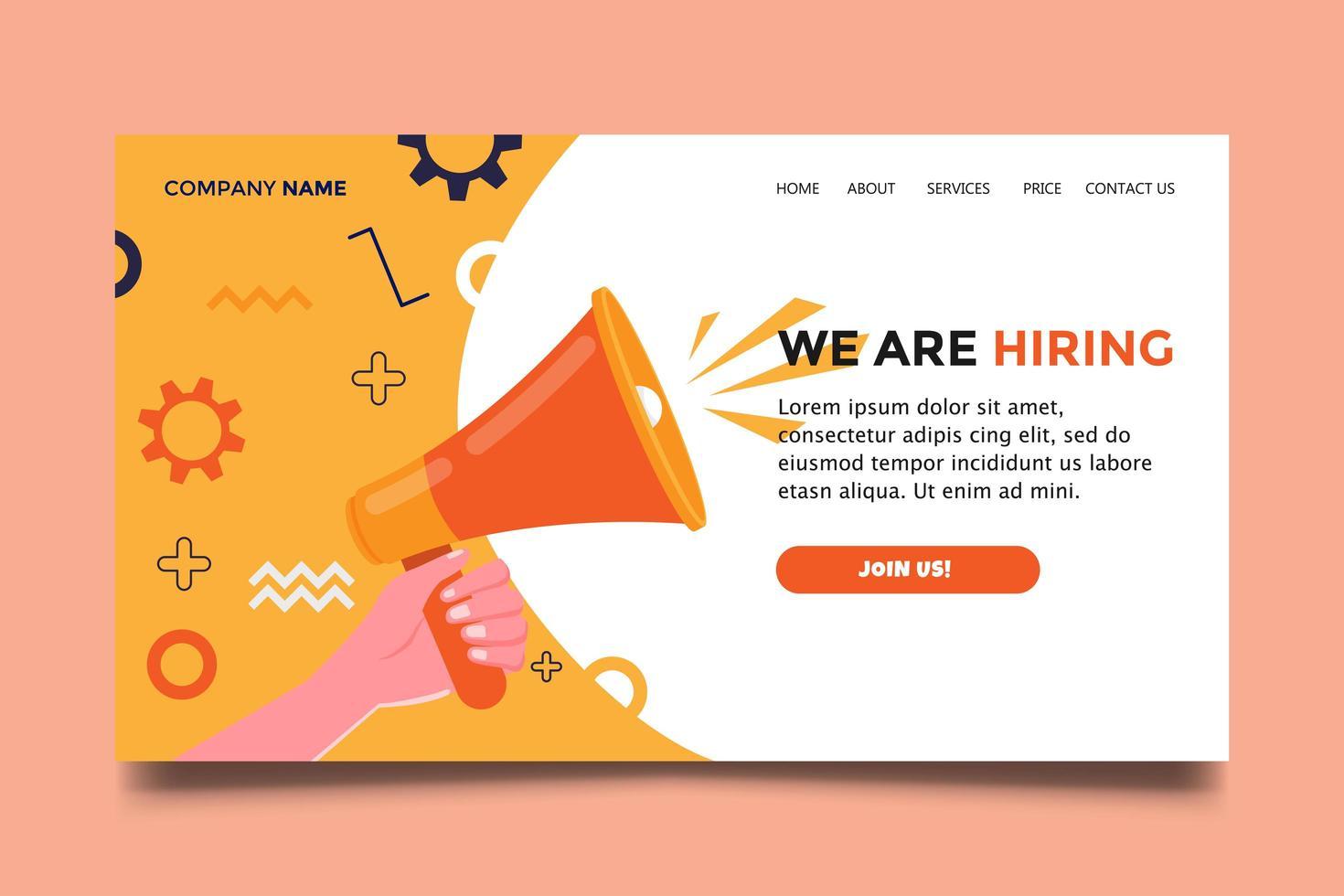 estamos contratando la página de inicio del sitio web con una campaña de icono de megáfono de mano. vector