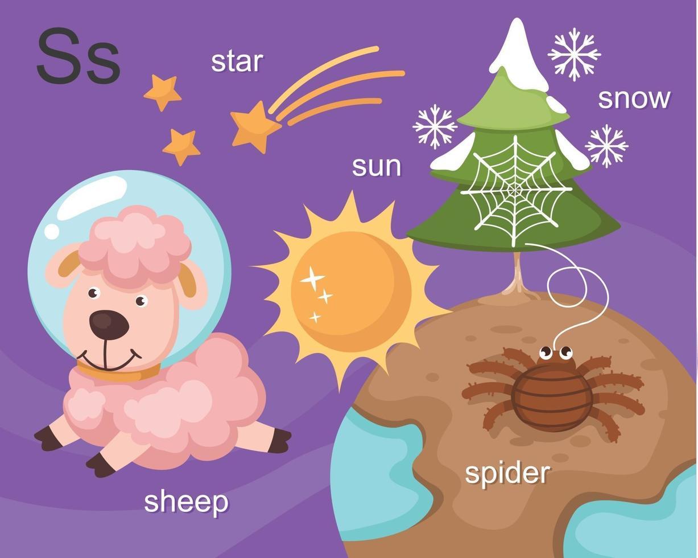 alfabeto s letra estrella, sol, oveja, araña, nieve vector