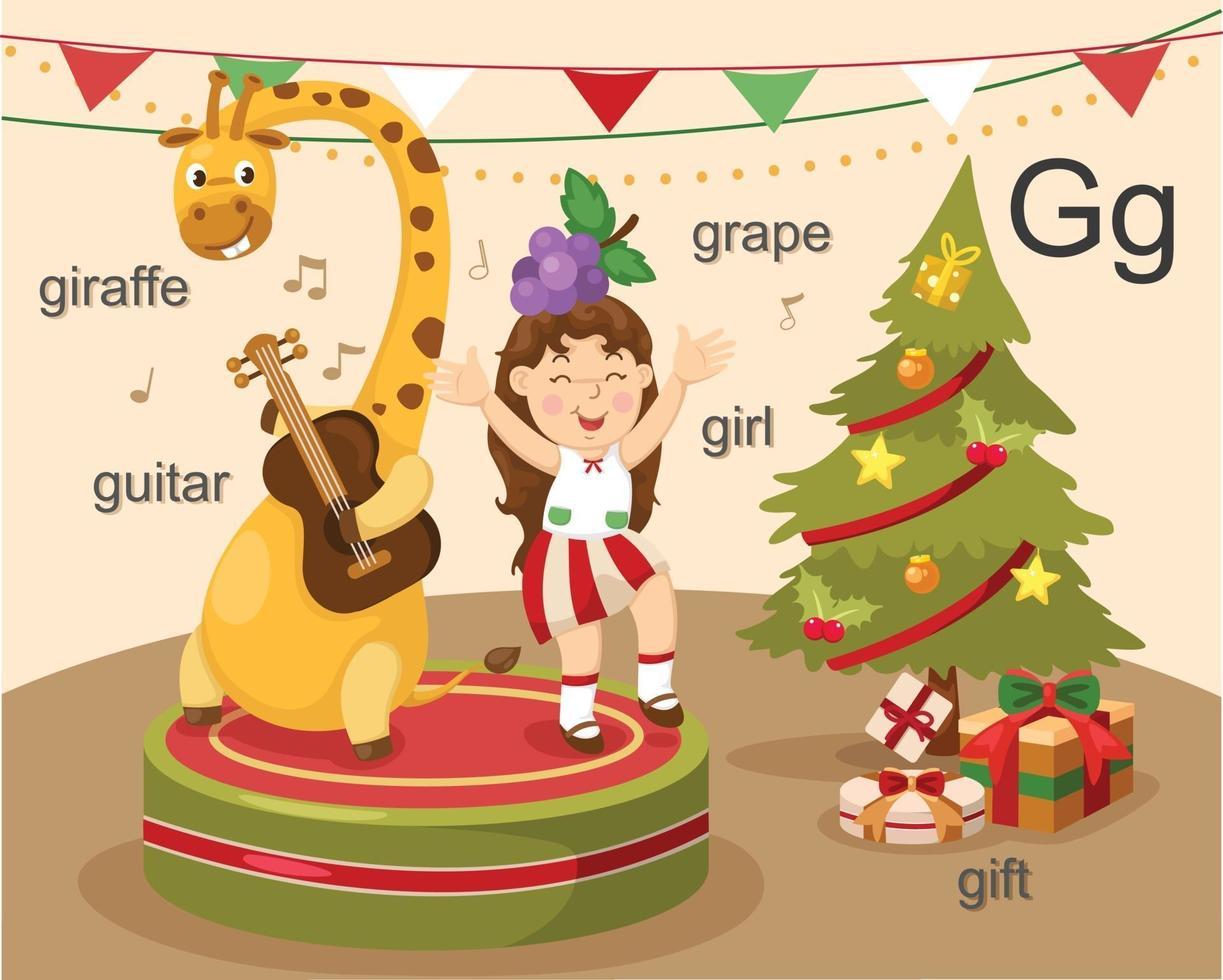 alfabeto g letra jirafa, guitarra, niña, uva, regalo. vector