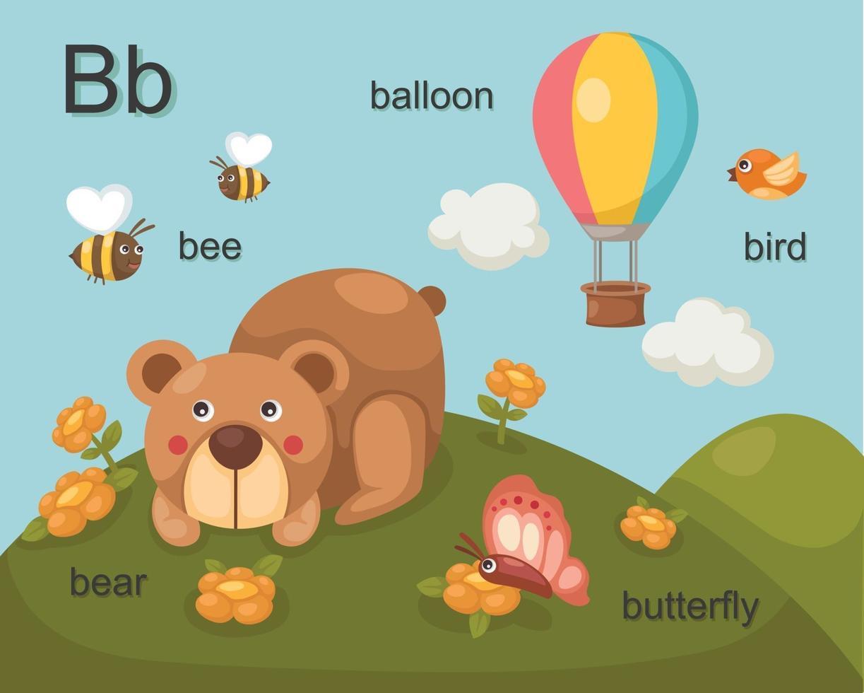 alfabeto b letra abeja, oso, globo, pájaro, mariposa vector