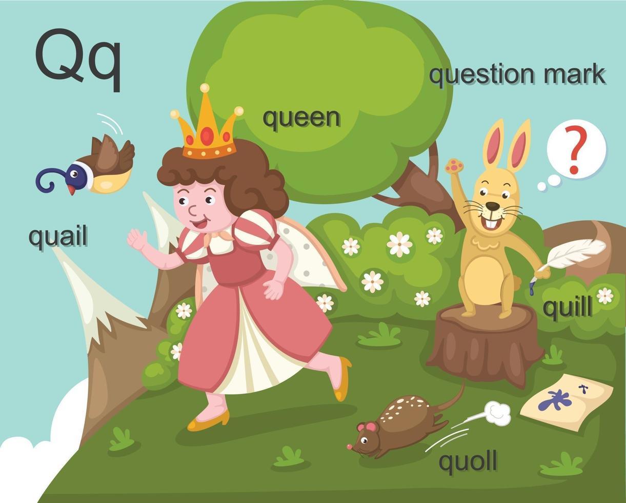 alfabeto q letra codorniz, reina, canilla, quoll, signo de interrogación. vector