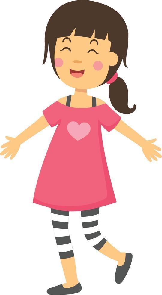 Ilustración de vector de niña de pie