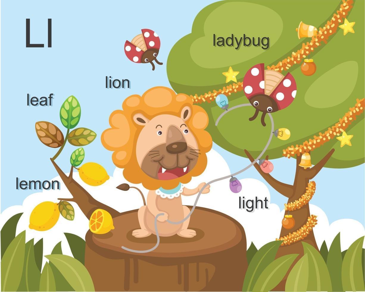 alfabeto l letra hoja, limón, león, mariquita, luz. vector