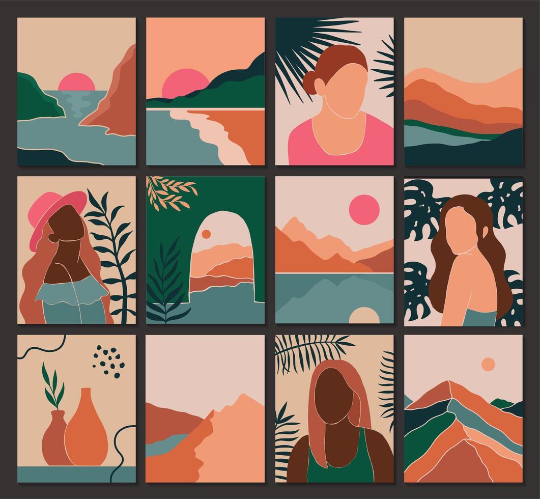 Establecer paisaje contemporáneo femenino y hojas en estilo boho. vector