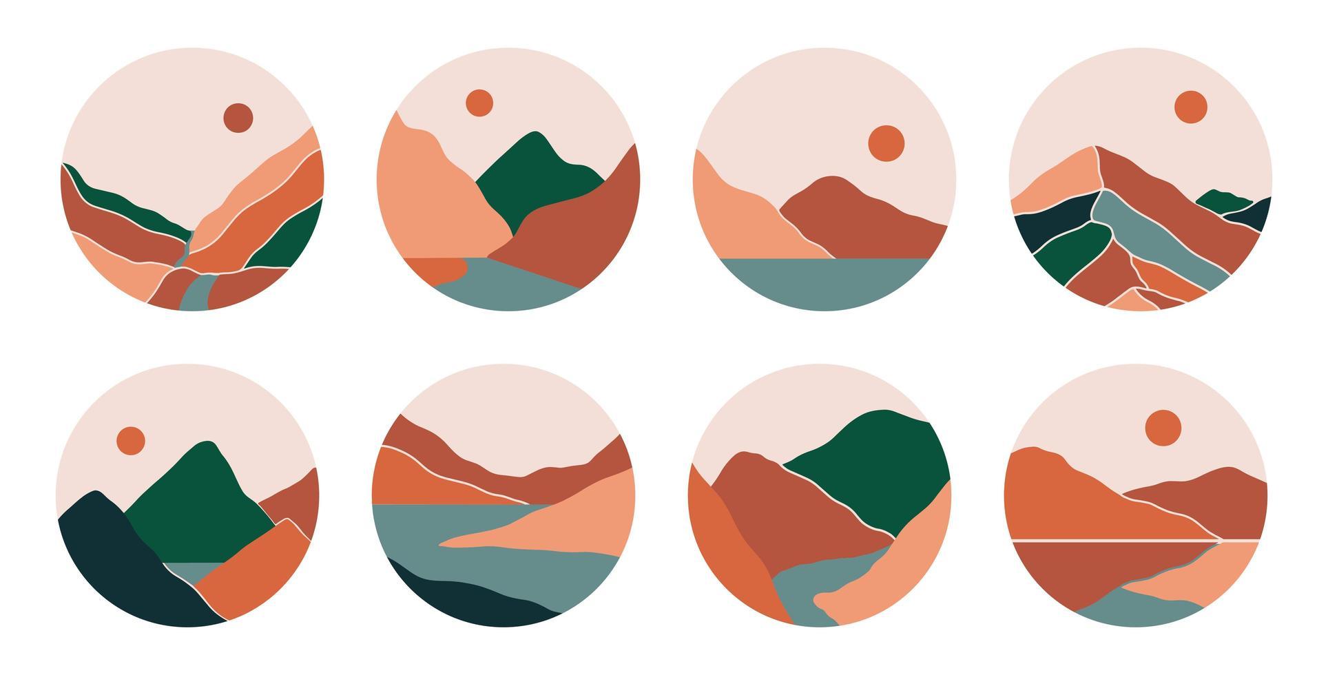 Boho social media highlight covers with mountains, river, sea vector