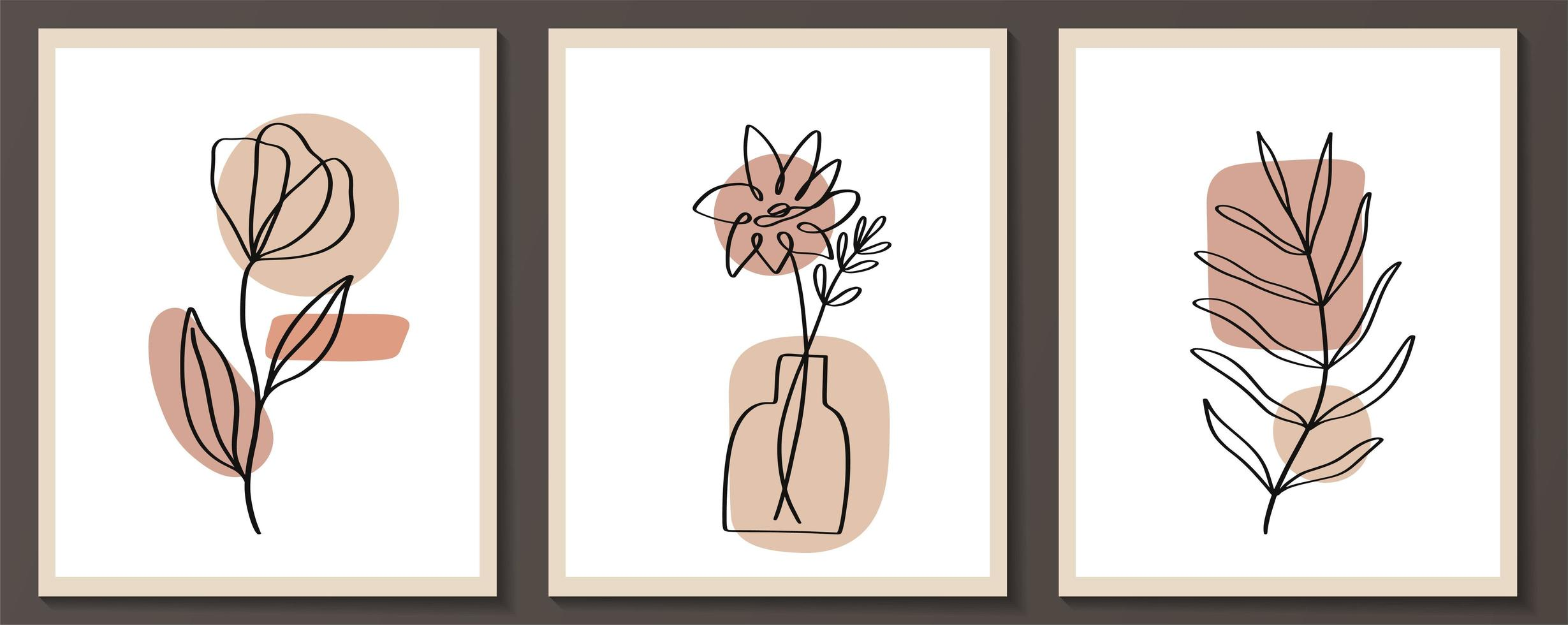 Set of flowers continuous Line art with abstract shape vector
