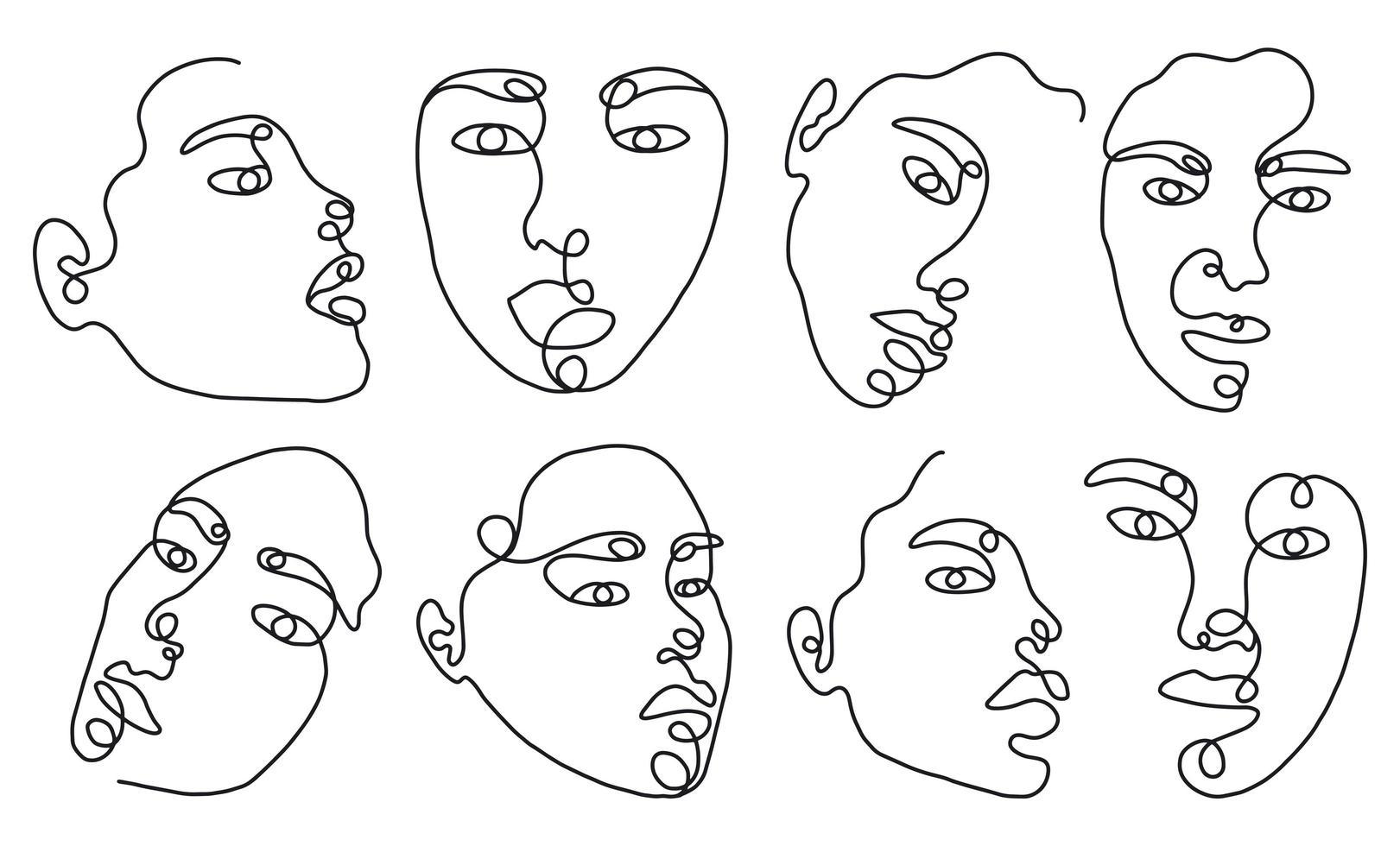 Set linear woman portraits vector