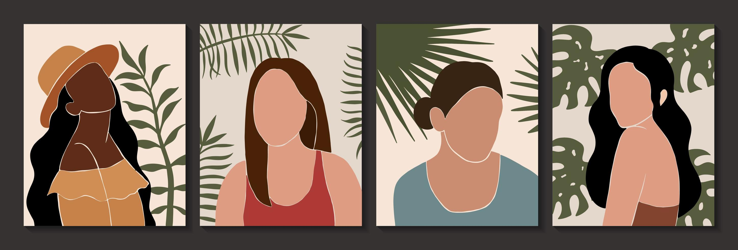 Set of abstract female and leaves silhouettes in boho style vector