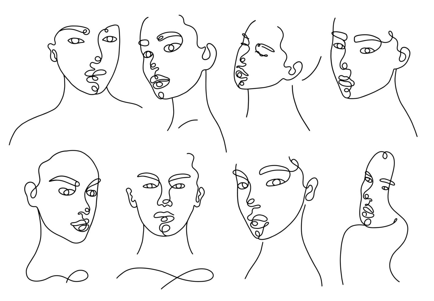 Continuous linear silhouette of female face vector
