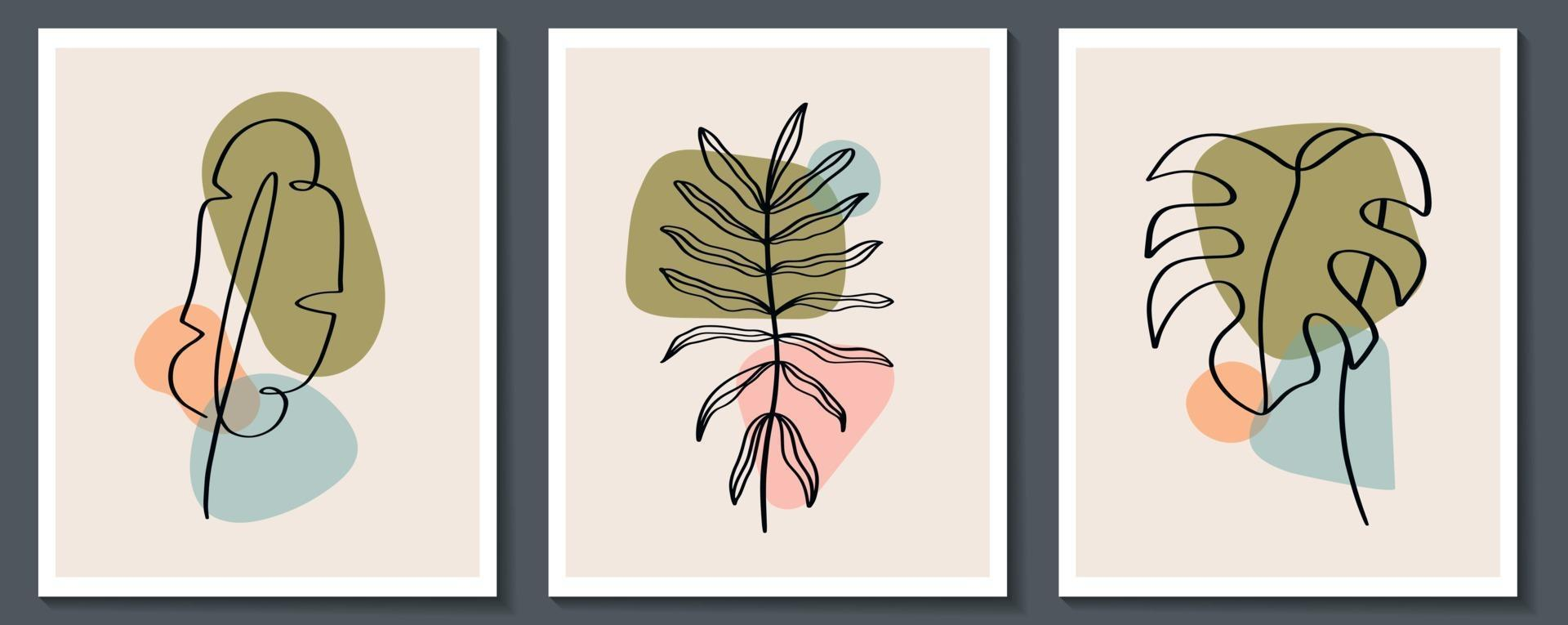 Set of flowers continuous Line art . Abstract Contemporary collage of geometric shapes in a modern trendy style. Vector for Beauty Concept, t-Shirt Print, postcard, poster