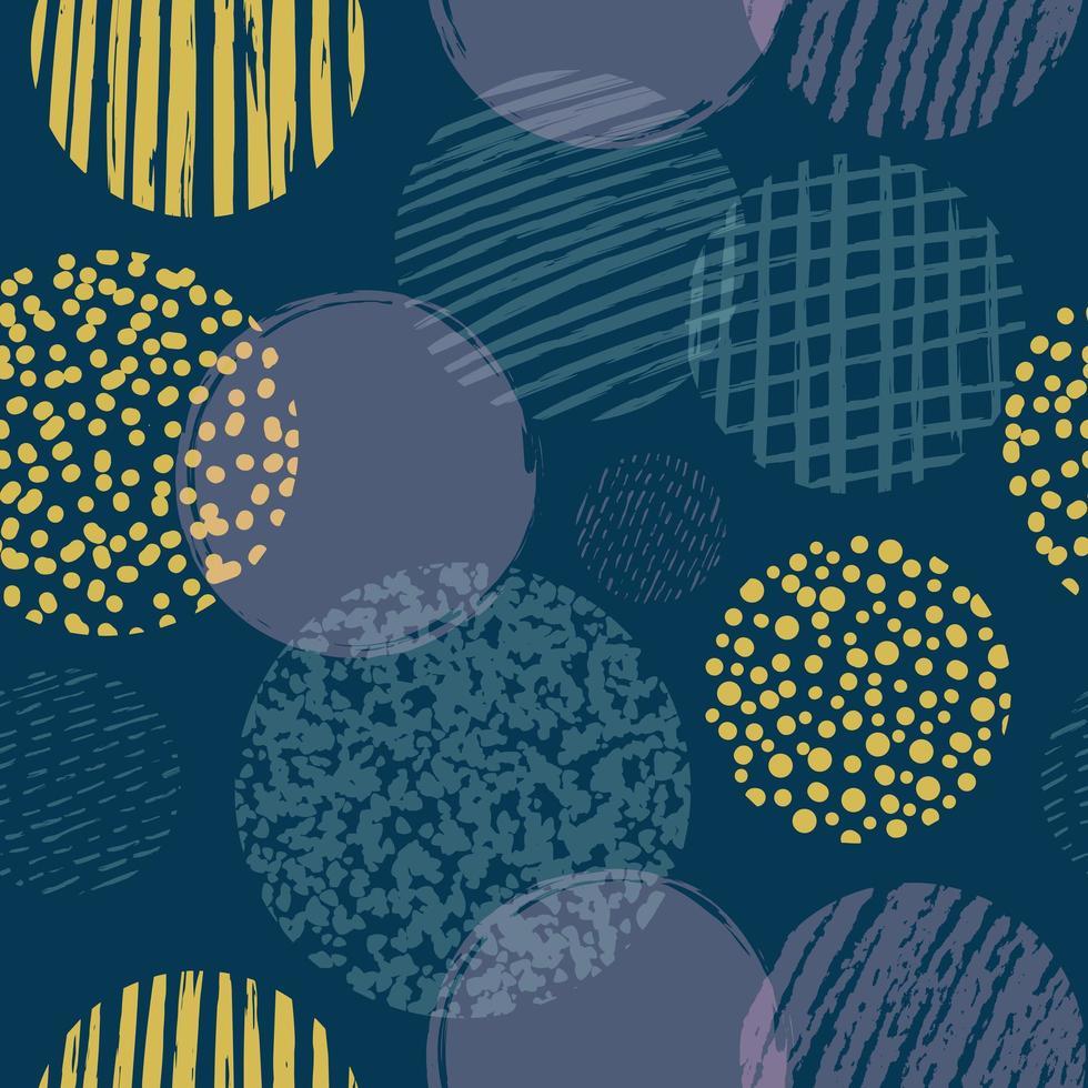 formas geométricas con círculos texturizados de patrones sin fisuras vector