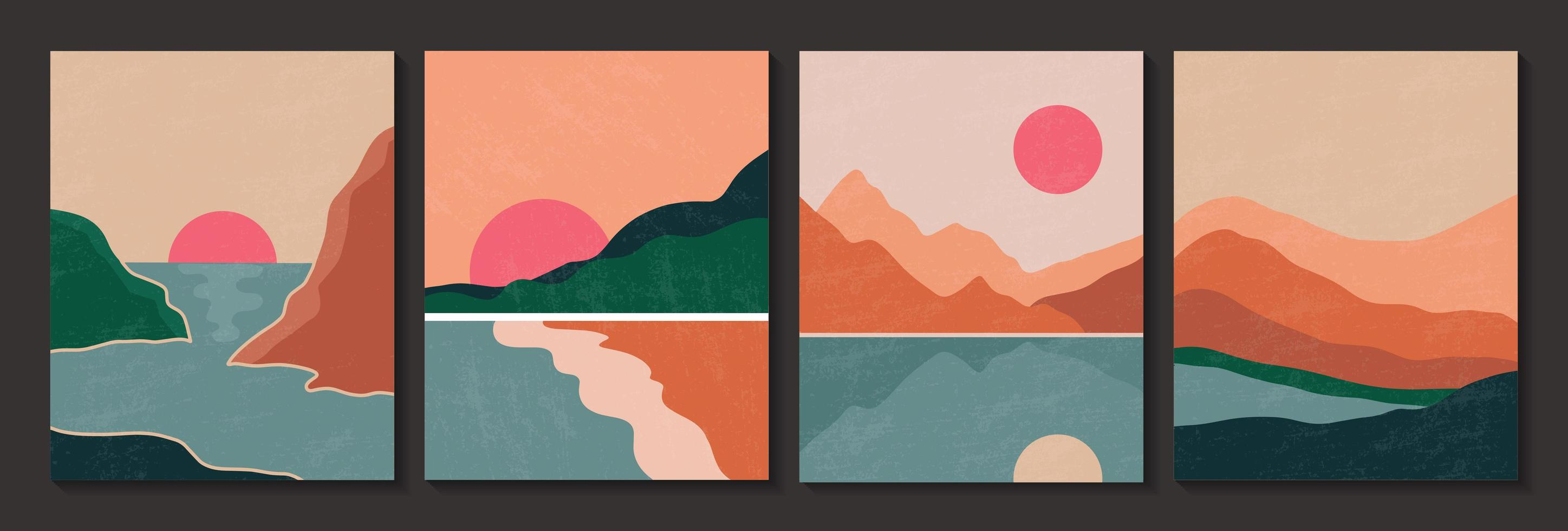 Abstract contemporary landscape poster with texture vector