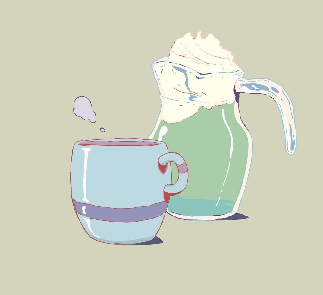 vector de taza de té en estilo doodle