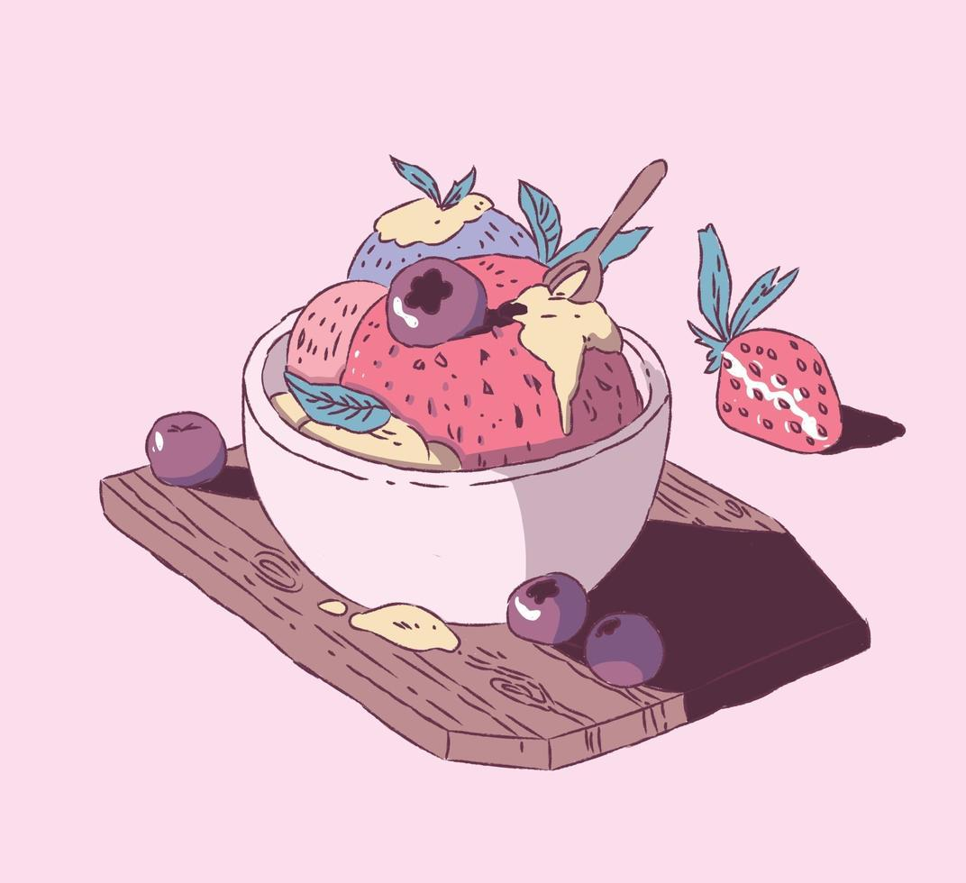 helado de fresa con arándanos estilo dibujado a mano, ilustración de vector de doodle de helado