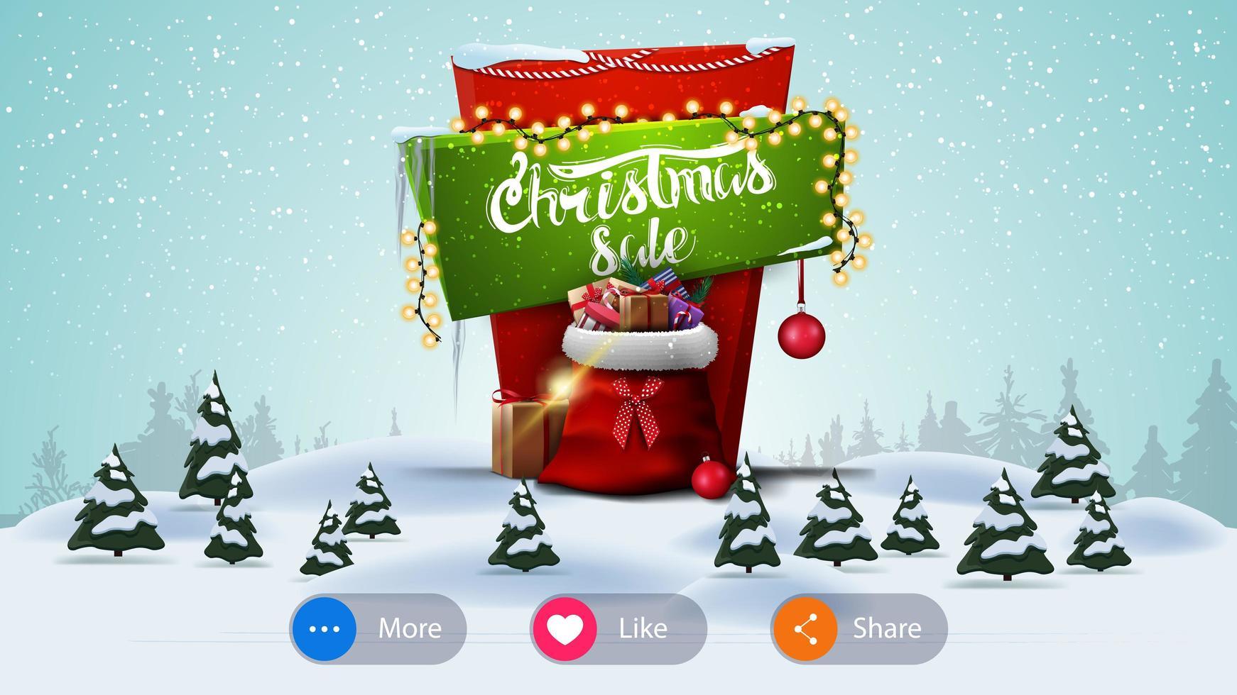 Venta de Navidad, banner para sitio web con botones y paisaje de invierno de dibujos animados vector