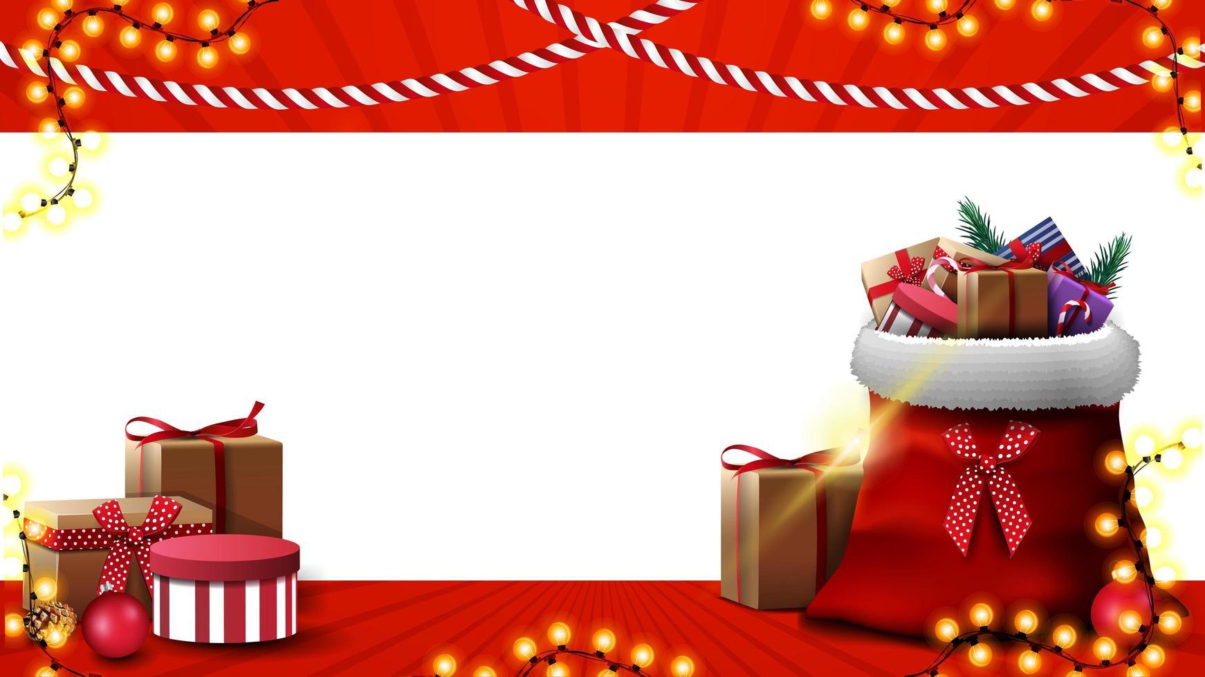 plantilla de navidad para tarjeta de felicitación o banner de descuento. plantilla de navidad con lugar para texto y bolsa de santa claus con regalos vector