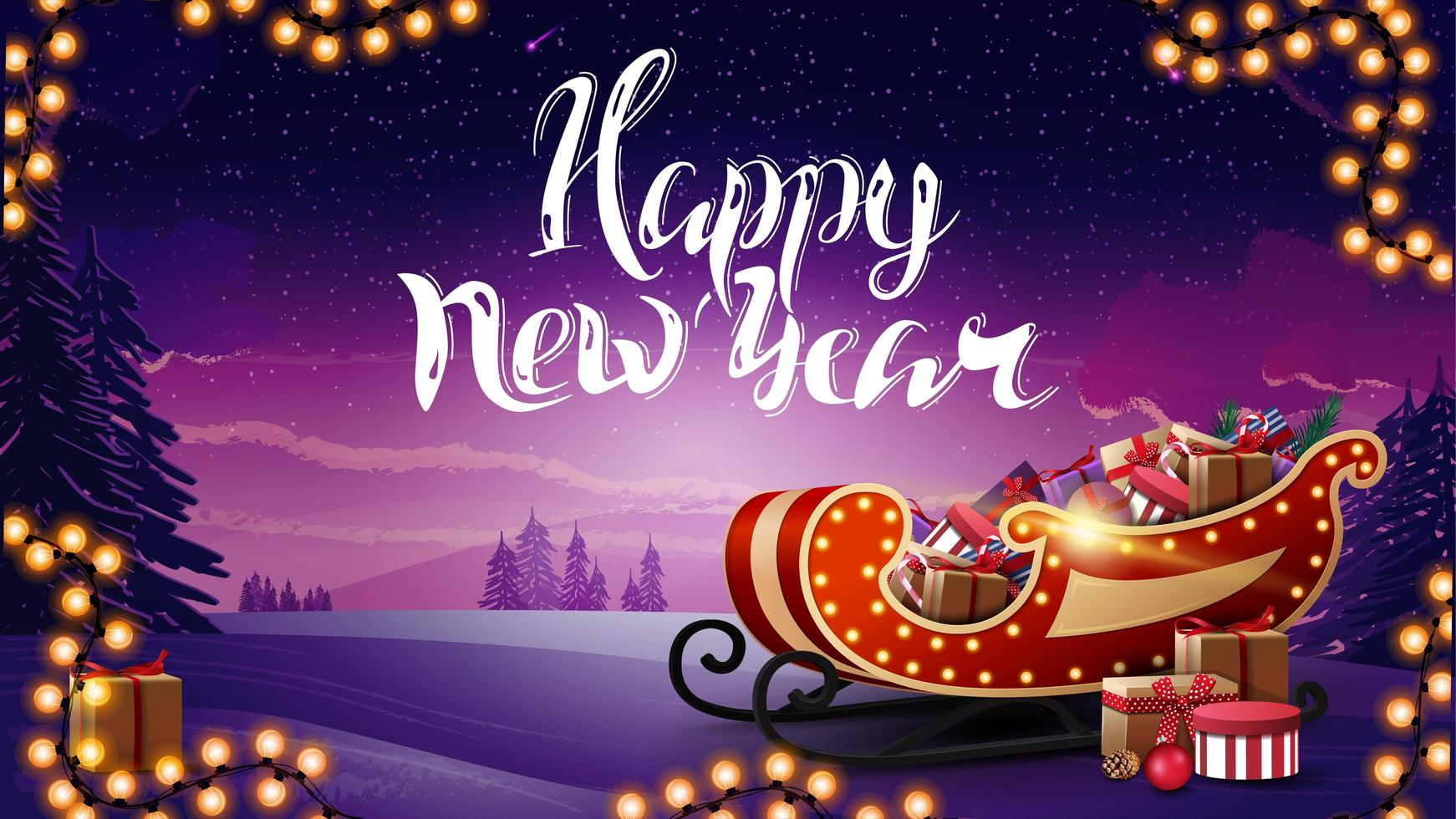 feliz año nuevo, hermosa postal con paisaje invernal, guirnalda y trineo de santa con regalos vector