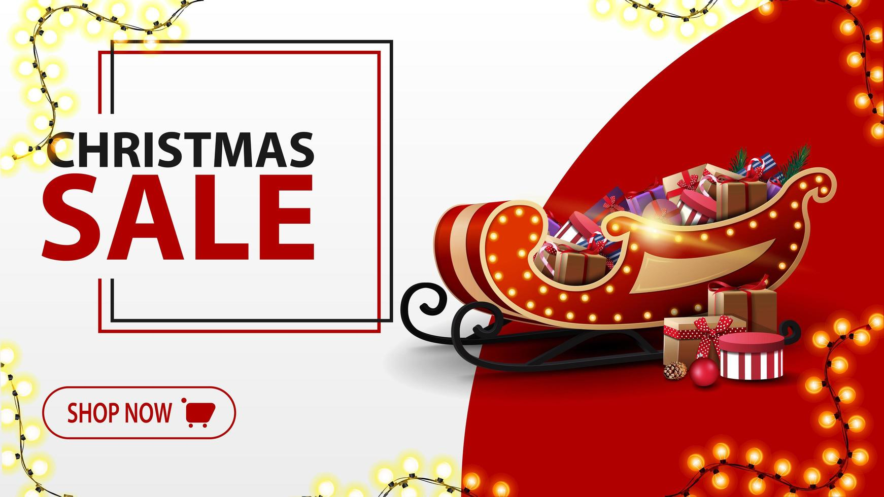 Christmas sale, white and red discount banner in minimalistic style with garland and Santa Sleigh with presents vector