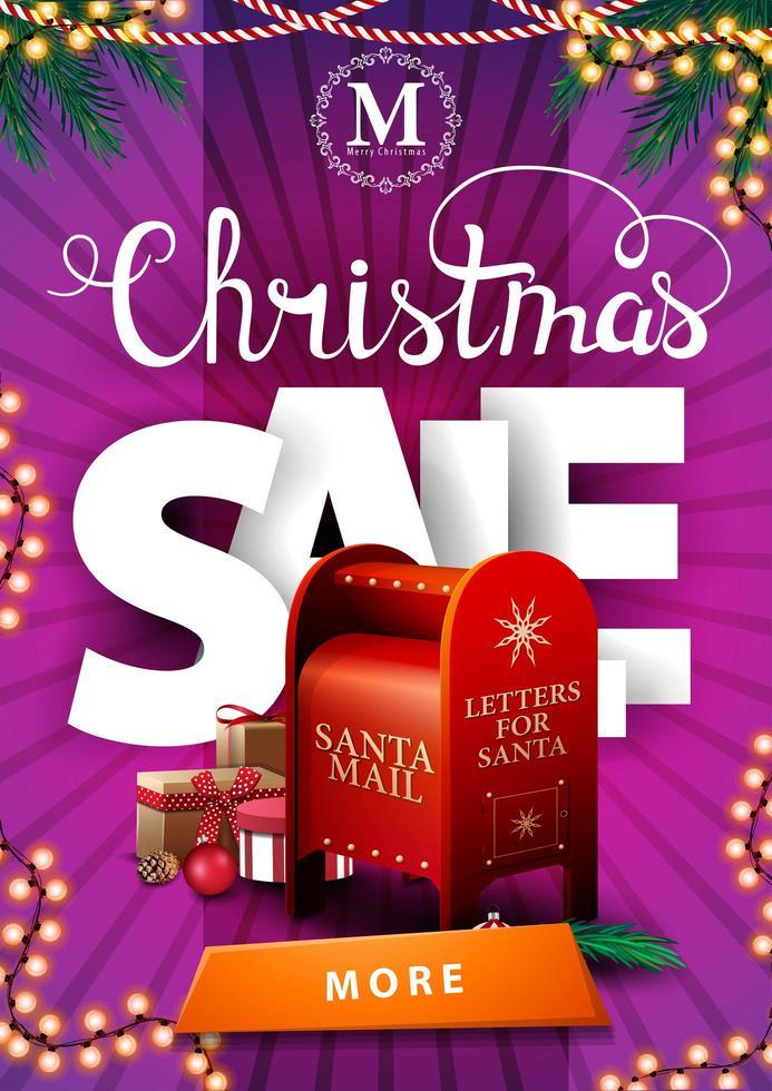 Venta de Navidad, banner de descuento vertical rosa con guirnaldas, letras volumétricas grandes, botón y buzón de santa con regalos vector