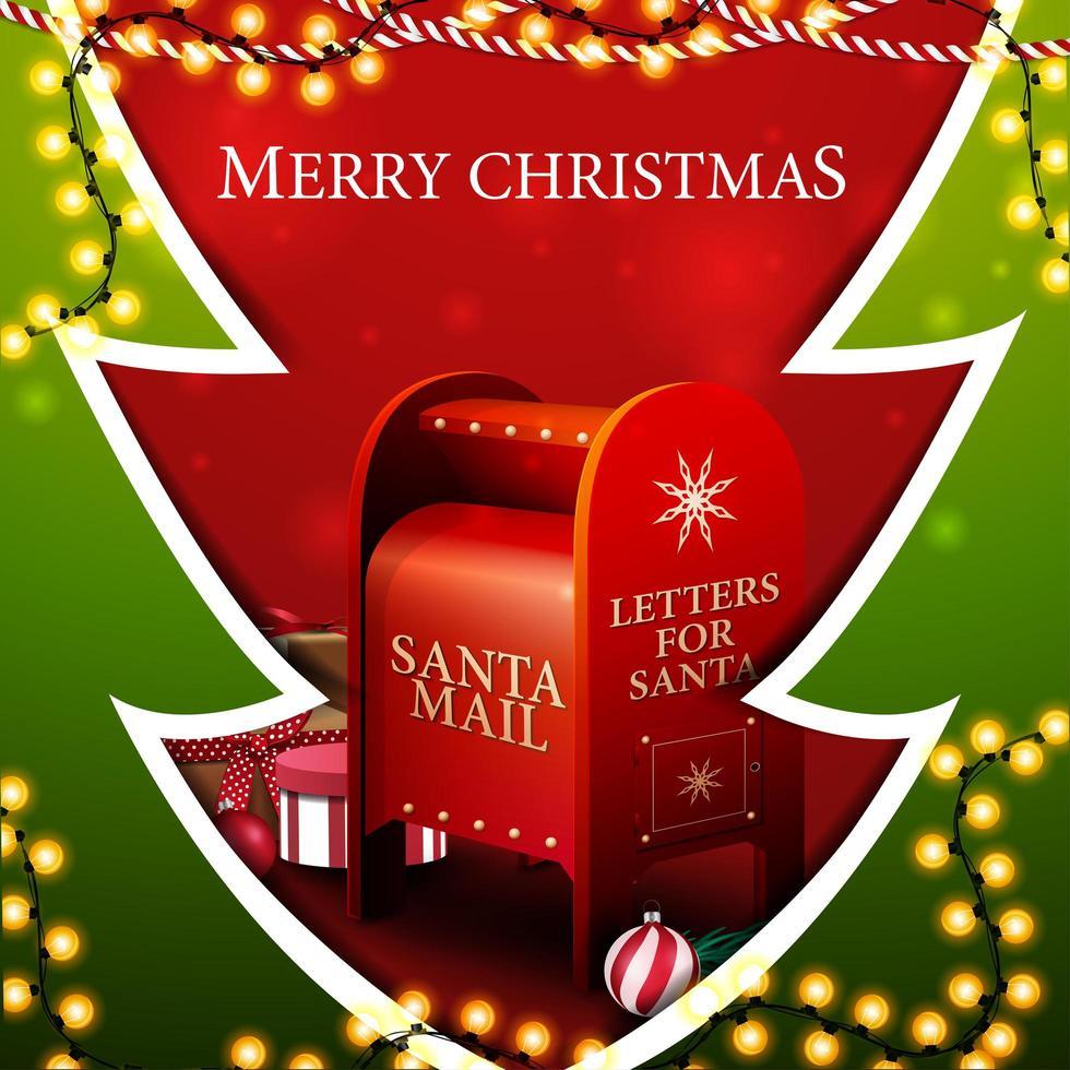 Feliz Navidad, postal cuadrada roja y verde en forma de árbol de Navidad en estilo de corte de papel con guirnaldas y buzón de santa con regalos vector