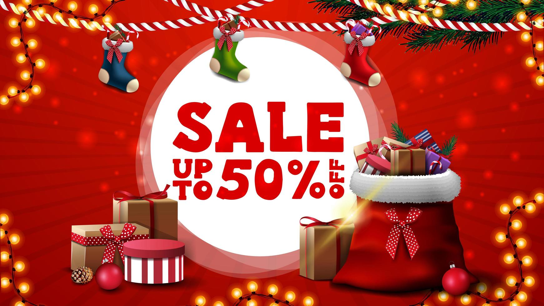Christmas sale, up to 50 off, red discount banner for website with Christmas stockings and Santa Claus bag with presents vector
