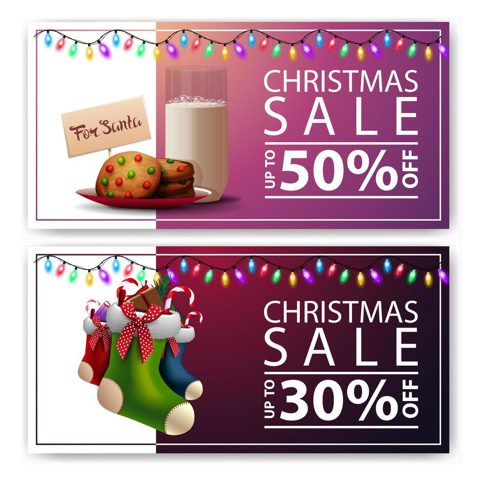 Two Christmas discount banners with cookies with a glass of milk for Santa Claus and Christmas stockings vector