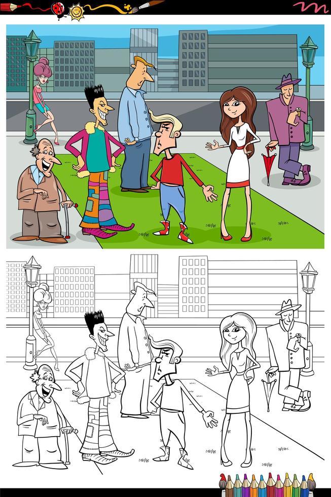 Grupo de personas de dibujos animados en la ciudad página de libro para colorear vector