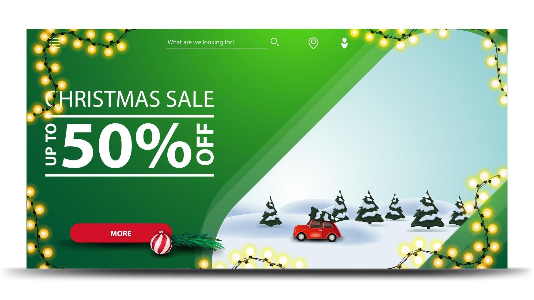 Venta navideña, hasta 50 de descuento, banner de descuento verde con guirnalda, botón y paisaje invernal de dibujos animados con un coche vintage rojo con árbol de Navidad vector