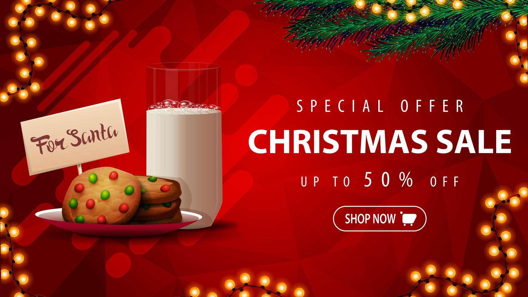 Special offer, Christmas sale, up to 50 off, beautiful red discount banner with Christmas tree branches, garland and cookies with a glass of milk for Santa Claus vector