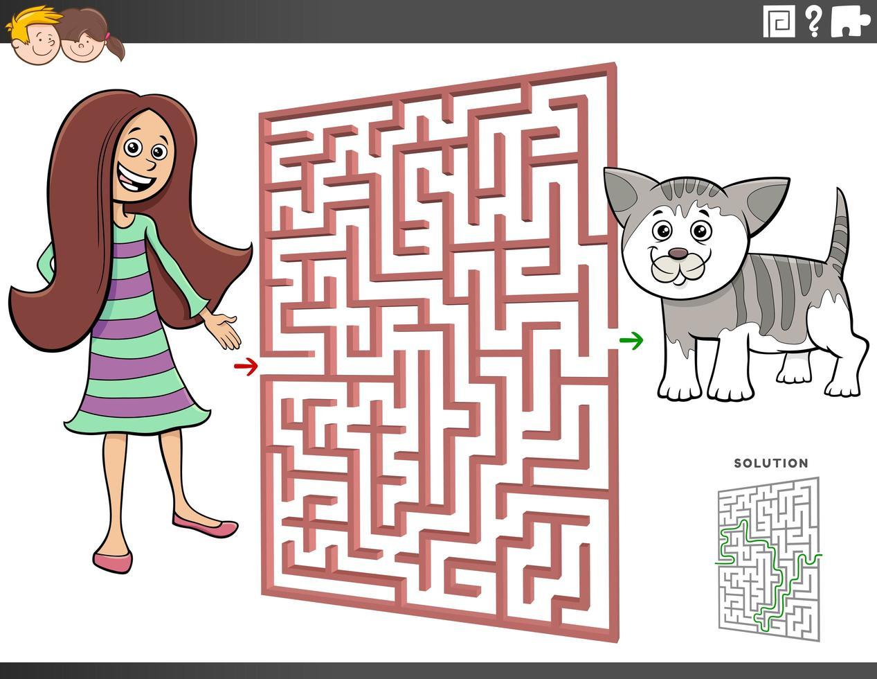 juego de laberinto con dibujos animados adolescente y gatito vector