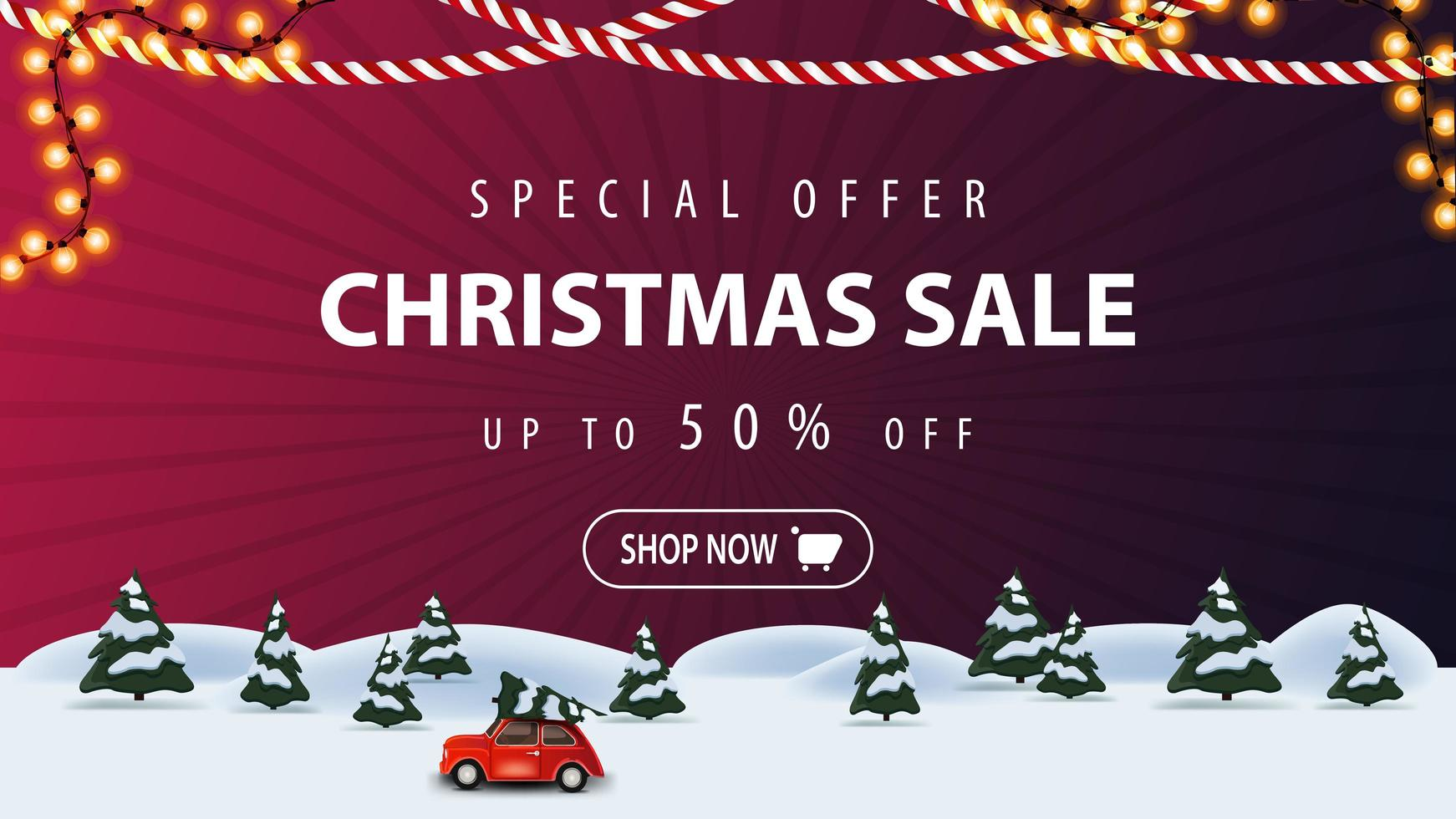 oferta especial, venta de navidad, hasta 50 de descuento, banner de descuento morado con paisaje invernal de dibujos animados con un coche rojo de época con un árbol de navidad vector